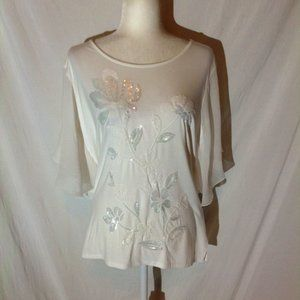JM Collection Sequined, Flutter Sleeve Top. NWT.